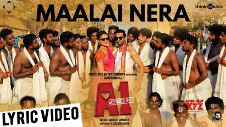 Maalai Nera Mallipoo Song Lyric Video | A1 |Santhanam, Tara | Santhosh Narayanan |